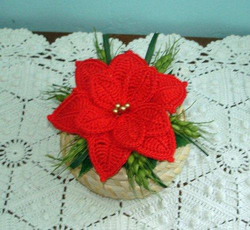 Vasetti segnaposto Stelle di Natale all'uncinetto diametro cm 5,5