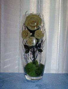 Composizione in vaso di vetro h cm 26 diametro cm 11 con for Composizioni natalizie in vasi di vetro